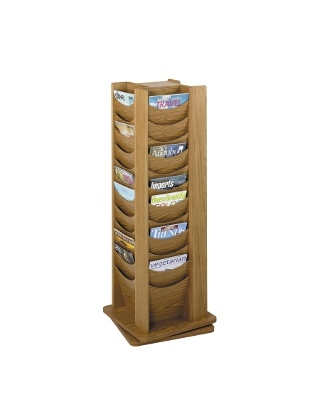 Safco 48-Pocket Solid Wood Rotating Display 4335MO (Medium Oak)