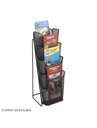 Safco Onyx Mesh 4 Pocket Pamphlet Display ES3760 5641BL