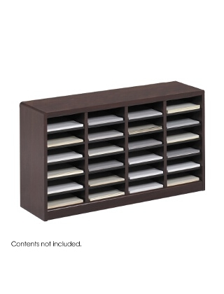 Safco E-Z Stor Wood Literature Organizer, 24 Compartments ES3811 9311MH