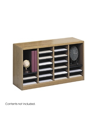 Safco E-Z Stor Wood Literature Organizer, 24 Compartments ES3812