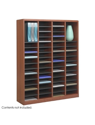 Safco E-Z Stor Wood Literature Organizer, 60 Compartments ES3817