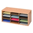 Safco Wood/Corrugated Literature Organizer, 12 Compartment 9401MO (Medium Oak) ES3827