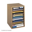 Safco Vertical Desk Top Sorter - 11 Compartment 9419MO (Medium Oak) ES3835