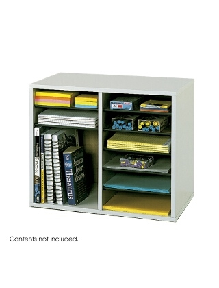 Safco Wood Adjustable Literature Organizer - 12 Compartment ES3836