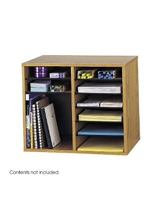 Safco Wood Adjustable Literature Organizer - 12 Compartment ES3837