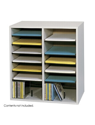 Safco Wood Adjustable Literature Organizer, 16 Compartment ES3838