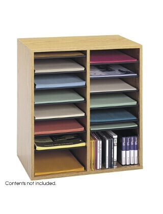 Safco Wood Adjustable Literature Organizer, 16 Compartment ES3839