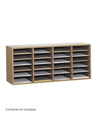Safco Wood Adjustable Literature Organizer, 24 Compartment ES3841 9423MO