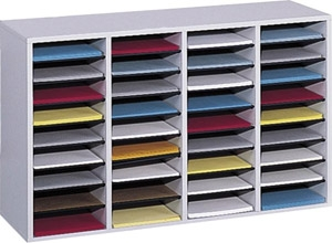 Safco Wood Adjustable Literature Organizer, 36 Compartment ES3842 9424GR
