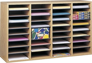 Safco Wood Adjustable Literature Organizer, 36 Compartment ES3843 9424MO
