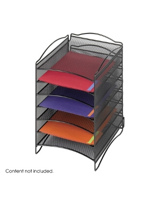 Safco Onyx 6 Compartment Mesh Literature Organizer ES3846