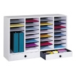 Safco Wood Adjustable Literature Organizer, 32 Compartment w. Drawer ES3857