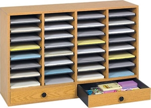 Safco Wood Adjustable Literature Organizer, 32 Compartment w. Drawer ES3858