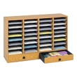 Safco Wood Adjustable Literature Organizer, 32 Compartment w. Drawer 9494MO (Medium Oak) ES3858