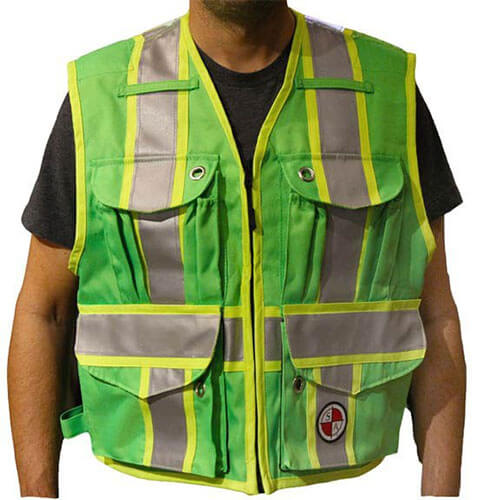 Safety Apparel PC15X - Heavy Duty X-Back Party Chief Survey Vest - Lime Green
