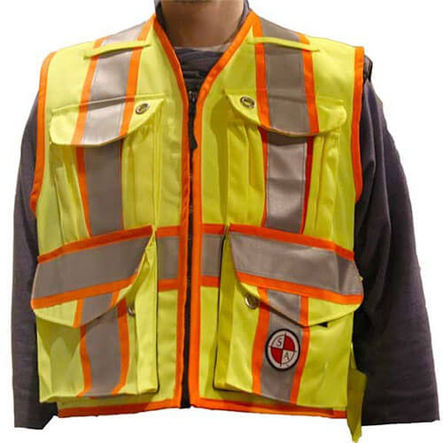 Safety Apparel PC14 - Heavy Duty X-Back Party Chief Survey Vest - Power Yellow