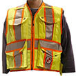 Safety Apparel PC14 - Heavy Duty X-Back Party Chief Survey Vest - Power Yellow (4 Sizes Available) ES7947