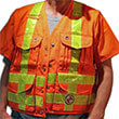 Safety Apparel PC13/PC13Z - Heavy Duty Party Chief Survey Vest - Safety Orange (2 Sizes Available) ES7948