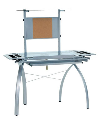 Studio Designs 10057 - Futura Tower Desk (Silver-Blue Glass) ES6255