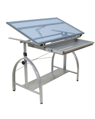Genial Studio Designs 10060   Avanta Drafting Table (Silver Blue Glass)