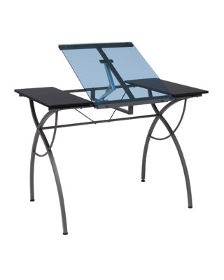 Studio Designs 10081 - Catalina Craft Table (Pewter - Blue Glass)