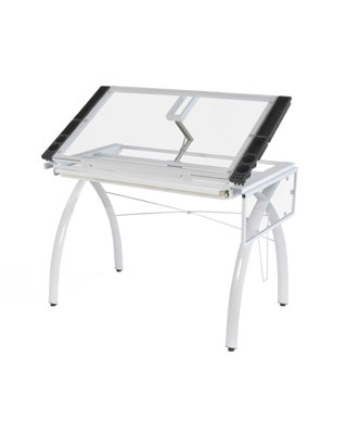 Studio Designs 10096 - Futura Craft Station with Folding Shelf (White - Clear)