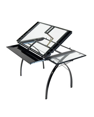 Studio Designs 10097 - Futura Craft Station with Folding Shelf (Black - Clear)