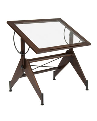 Studio Designs 13310 - Aries Glass Top Drafting Table (Dark Walnut - Black)