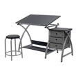 Studio Designs 13325 - Comet Center with Stool (Silver - Black) ES6356