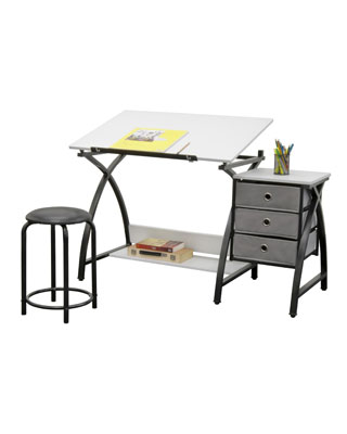 Studio Designs 13326 - Comet Center with Stool (Black - White)