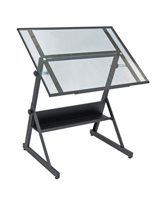 Studio Designs 13346   Solano Adjustable Drafting Table (Charcoal   Clear  Glass)