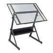 Studio Designs 13346 - Solano Adjustable Drafting Table (Charcoal - Clear Glass) ES6362