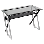 Studio Designs Colorado Metal And Glass Writing Desk - Silver and Black - 50707 ES6798