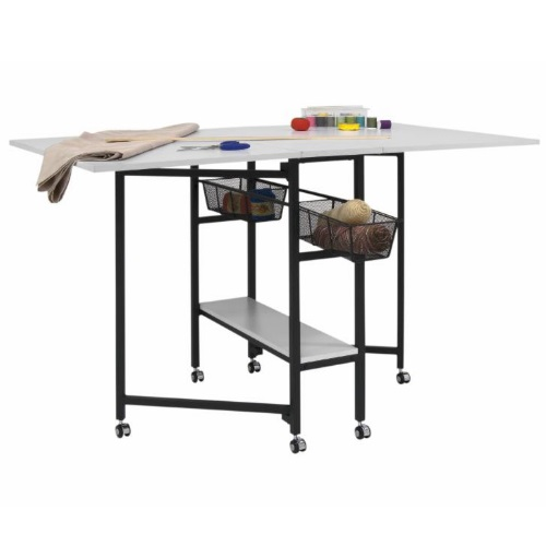 Studio Designs 13377-Charcoal/White - Sew Ready Mobile Fabric Cutting Table with Storage