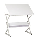 Studio Designs Prime Adjustable Top Drawing Table With Shelf In White - 10115 ET10717