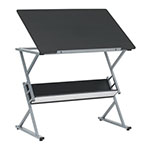 Studio Designs Prime Adjustable Top Drawing Table With Shelf In Silver and Black - 10116 ET10718