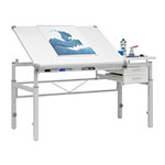 Studio Designs Graphix II Height Adjustable, Split Top, Pro Line Drafting Table With 39.5″ X 30″ Tilting Top And Drawers In White - 10212 ET10719