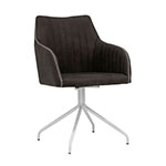 Studio Designs Adelaide Swivel Home Office Accent Chair with Arms in White Metal Legs and Dark Grey Faux Suede - 52002 ET10721