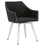 Studio Designs Sydney Swivel Home Office Accent Chair with Arms in White Metal Legs and Patterned Dark Gray Faux Leather - 52004 ET10754