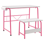 Studio Designs 2 Piece Project Center Includes Art Table With Paper Roll And Bench - Pink and Spatter Gray - 55125 ET11185