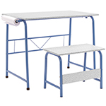 Studio Designs 2 Piece Project Center Includes Art Table With Paper Roll And Bench - Blue and Spatter Gray - 55126 ET11186