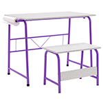 Studio Designs 2 Piece Project Center Includes Art Table With Paper Roll And Bench - Purple and Spatter Gray - 55127 ET11187