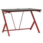 "Studio Designs SD Gaming Quest 52"" PC Gamer Computer Desk w/ Charging Station - Racing Red Metal Legs/Black Top - 51254 ET12371"