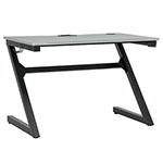 "Studio Designs SD Gaming Zone 52"" PC Gamer Computer Desk w/ Charging Station and Headphone Hook - Black Metal Legs/Racing Silver Top - 51255 ET12372"