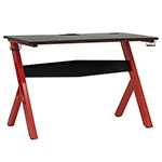 "Studio Designs SD Gaming Overlord 52"" PC Gamer Computer Desk w/ Charging Station - Racing Red Metal Legs/Black Top - 51257 ET12374"