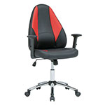 Studio Designs SD Gaming Contoured Swivel Gamer/Office Chair with Tilt and Height Adjustable Seat and Arms and Chrome Base - Black/Racing Red - 10661 ET12381