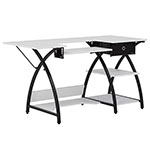 Studio Designs Sew Ready Comet Hobby Sewing Machine Desk with Bottom Storage Shelf and Drawer - Black/White - 13333 ET12388