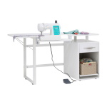 Studio Designs Pro Line Craft, Sewing, & Office Desk With Drawer With Sliding Shelf In Storage Cabinet, White - 13397 ET12394
