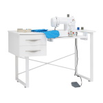 Studio Designs Sew Ready Pro Line Paper Craft Cutting Machine, Sewing Machine, and Office Desk with 2 Drawers, Fold-Down Top and Height Adjustable Platform in White - 13398 ET12395