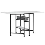 "Studio Designs Sew Ready 36"" Tall Standing Height Mobile Craft Cutting Table with Storage Baskets Shelf and Expandable Top - Charcoal/White - 13378 ET12415"